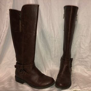 Brown, knee-high riding boots